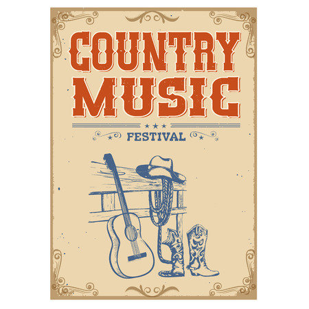 Music concert festival poster on old paper background with acoustic guitar and american cowboy shoes