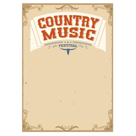 Country festival de musique de fond pour text.Poster isolé sur blanc