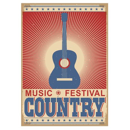 old barn: Acoustic guitar Country music festival background.Vector poster illustration isolated on white