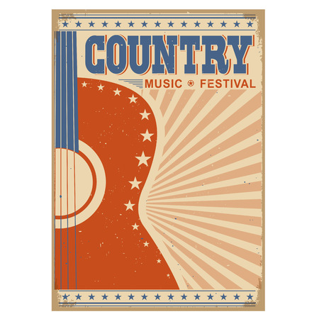 Acoustic guitar Country music festival background.Retro poster isolated on white