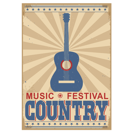 country music: Country music festival background with acoustic guitar.Vector poster illustration isolated on white