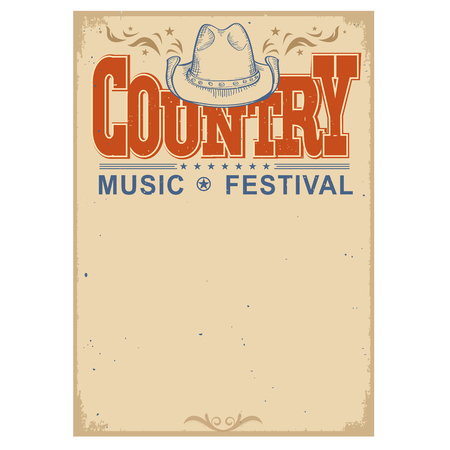 Country music festival poster on old paper background.Vector poster with cowboy hat  isolated on white Çizim