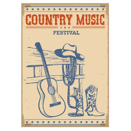 Country music festival poster on old paper background.Vector poster isolated on white Illustration