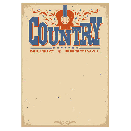 Country music festival poster on old paper background.Vector poster with acoustic guitar isolated on white Çizim