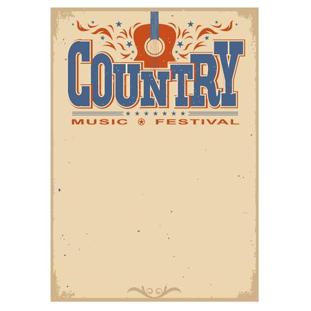 campestre: Poster country festival de música en el viejo cartel de papel background.Vector con la guitarra acústica aislado en blanco