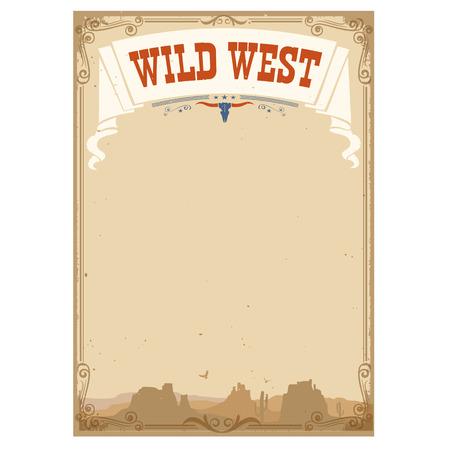 野生の西はテキストの背景。白で隔離のベクトル図