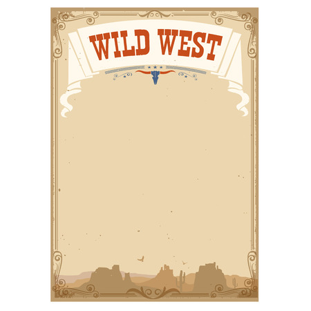Wild west background for text.Vector illustration isolated on white Çizim