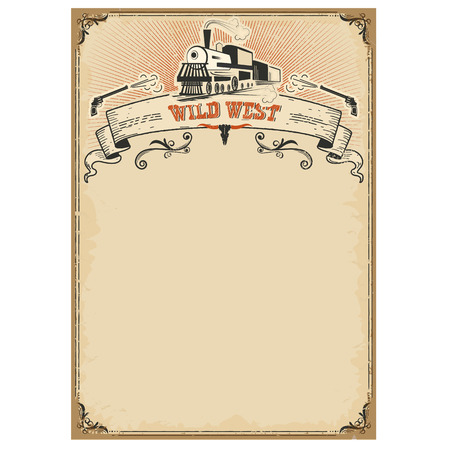 railway transportations: American western background with old locomotive and scroll.Vector old paper texture for text