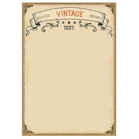vintage scrolls: Vintage background on old paper with ornate frame and scroll for text Illustration