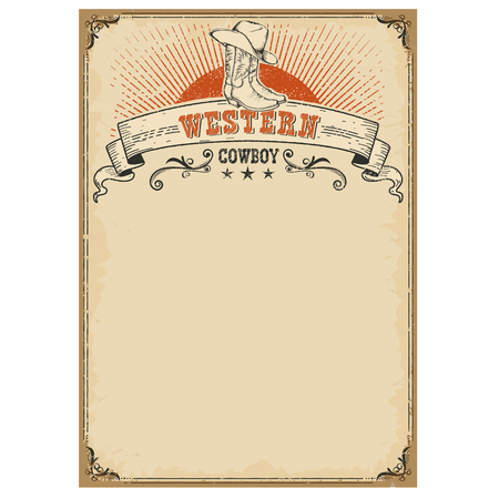 the country: American western background with boots and cowboy hat symbol on old paper texture for text Illustration