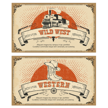 western: Vintage frame western and wild west cards.Vector illustration isolated on white Illustration