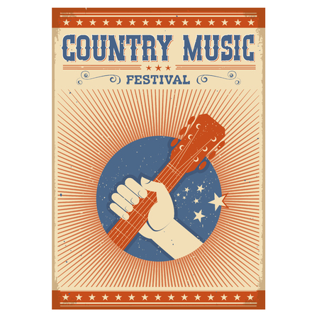 Music festival background with guitar and hand.Vector isolated poster on old paper on white