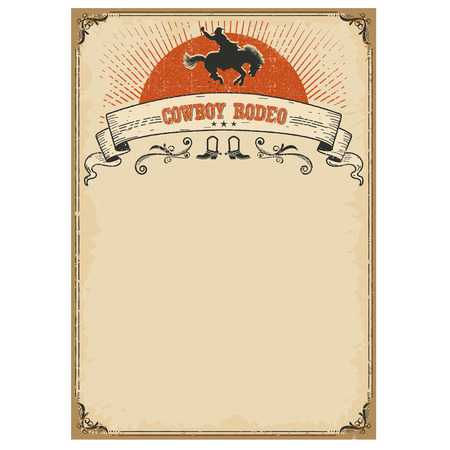 Cowboy rodeo poster for text.Vector vintage illustration with wild horse and cowboy