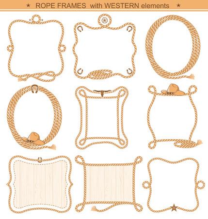 Rope frames achtergrond voor tekst met cowboy-elementen geïsoleerd op wit Stockfoto - 61249428