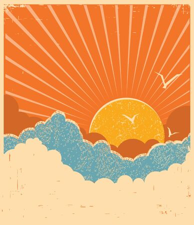 Blue sky with beautifull clouds.Vector retro poster for text