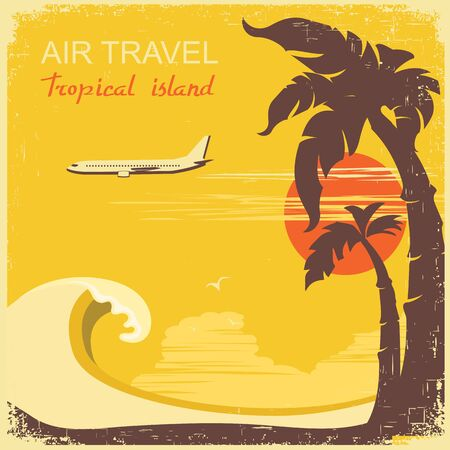 summer holiday: airplane and tropical paradise on old retro poster.Vector background illustration for text