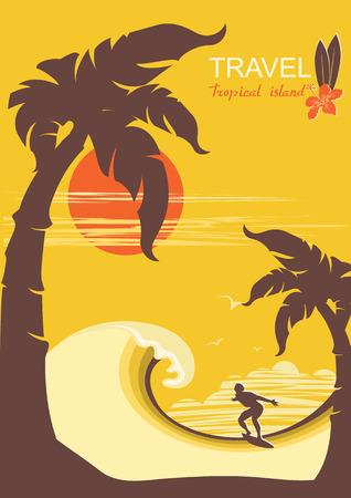 ヤシの木の島と男のサーファーと熱帯の楽園。テキストのベクトルの背景ポスター