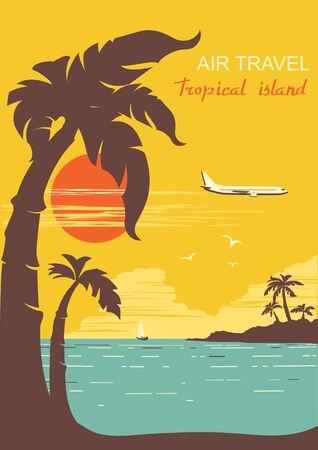 vliegtuig vliegt op tropische paradise.vector retro poster achtergrond