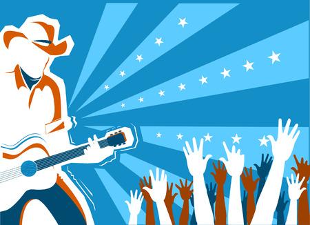 Concert de musique country américain avec chanteur et guitare. Illustration de fond vectorielle Vecteurs