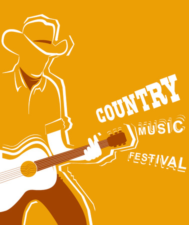 country music: Country music festival poster with musician playing guitar.Vector poster illustration