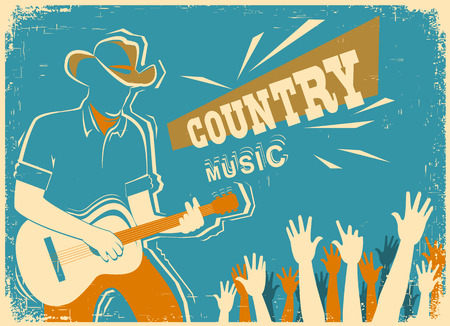 Country music festival background with musician playing guitar.Vector old vintage poster illustration Vectores