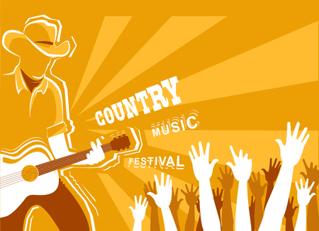 Country music festival poster with musician playing guitar.Vector background illustration