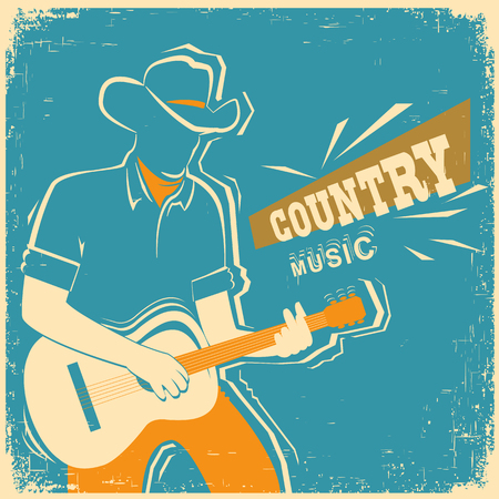 old poster: Country music festival poster with musician playing guitar.Vector old vintage poster illustration