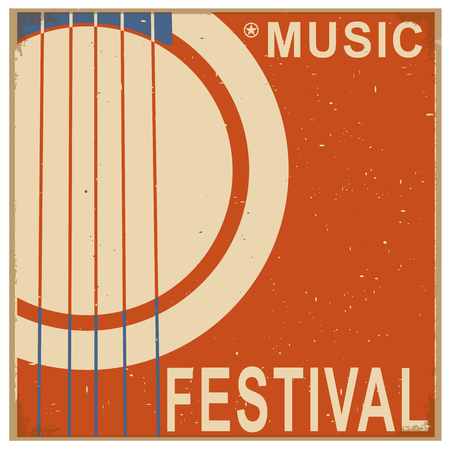 old barn: music festival background with acoustic guitar.Vector poster illustration for text Illustration