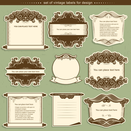 classical: Label frames with decor vignettes.Vector illustration for design Illustration