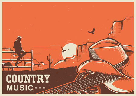 rope folk: American country music poster with cowboy hat and guitar on vintage landscape background for text