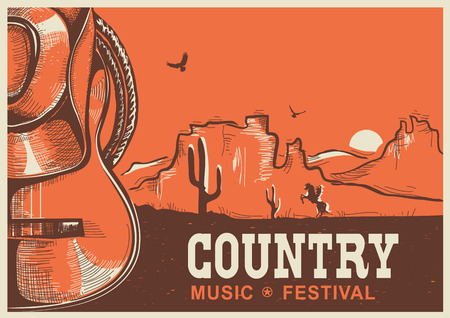 rope folk: American country music poster with cowboy hat and guitar on vintage landscape background