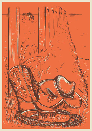 American Ranch illustration with cowboy boots Illustration