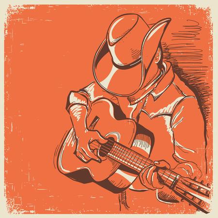 guy playing guitar: man in american cowboy hat playing guitar.