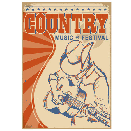 country music: American Country music illustration with text.Musician in cowboy hat  playing guitar