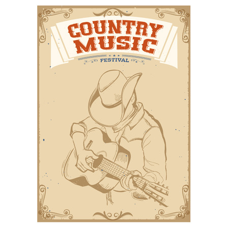 the country: Musician in cowboy hat playing guitar Country music festival background for text. Illustration