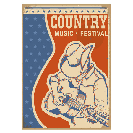 guy playing guitar: American Country music background with text.Musician playing guitar Illustration