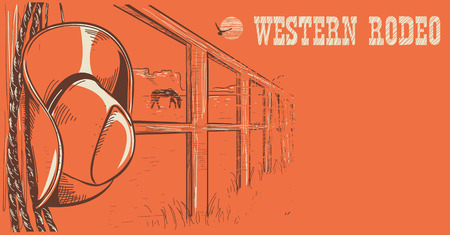 americana: Western rodeo poster with American West cowboy hat and lasso on wood fence. Illustration