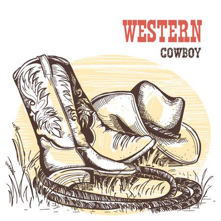Cowboy-Stiefel und Westen hat.American traditionelle Kleidung.