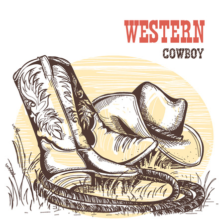 riding boot: Cowboy boots and west hat.American traditional clothes. Illustration
