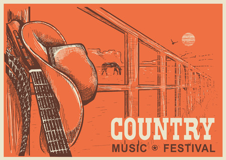 country music: Western country music poster with cowboy hat and music guitar.