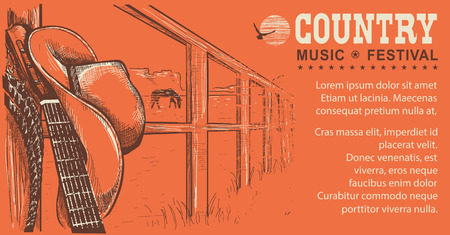 country music: Western country music illustration with cowboy hat and music guitar.