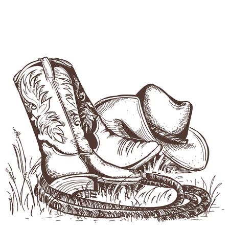 カウボーイ ブーツと西の帽子。アメリカの伝統的な服。  イラスト・ベクター素材