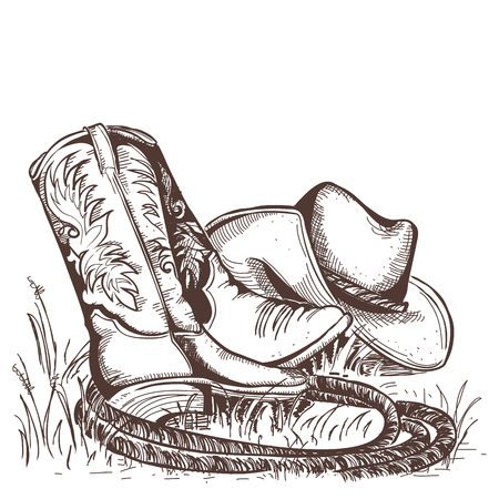 Cowboy boots and west hat.American traditional clothes. Illustration