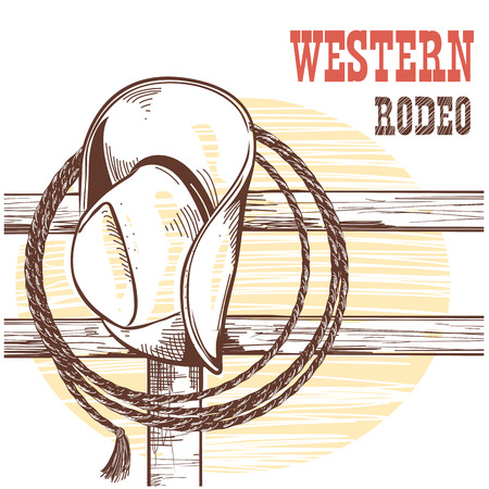 American West cowboy hat and lasso on wood fence. Vector Illustration