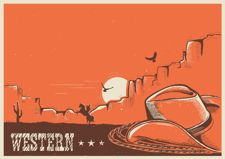 Western American landscape with cowboy hat and lasso.