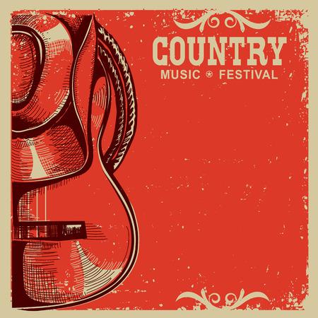 アメリカのカウボーイ ハットとヴィンテージのカードの背景にギターで西洋の国音楽ポスター  イラスト・ベクター素材