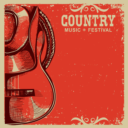 Western country music poster with american cowboy hat and guitar on vintage card background Çizim