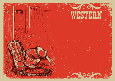 Cowboys life .Western background illustration with landscape and cowboy boots and hat.