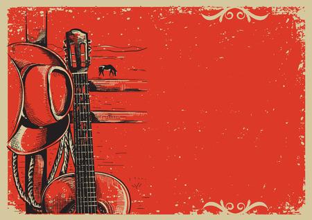 campestre: cartel de la música país occidental con sombrero de vaquero americano y la guitarra en el fondo papel de la vendimia