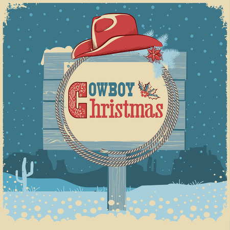 Cowboy christmas card with western hat  and text on wood board. american illustration background Illustration